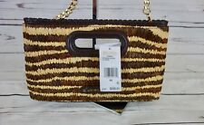 NEW MICHAEL KORS Rosalie Large Clutch Natural Raffia Leather Trim MSRP $298 NWT