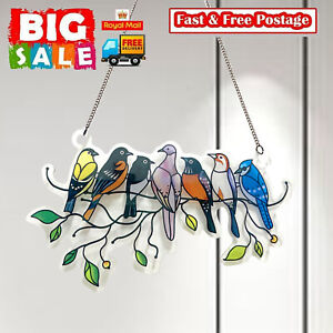 Multicolor Birds on a Wire High Stained Glass Suncatcher Window Panel Pendant A