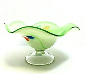 "Art Glass Bowl Green w/ Clear Footed Base Ruffled Rim 10"" Across Hand Blown"