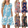 Women's Summer Short Sleeve Floral Printed Pockets Sundress Casual Swing Dress