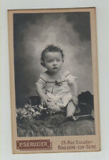 Antique CDV Cute Baby on Fur Skin Flowers  P. Séruzier Boulogne Sur Seine France