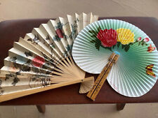 New listing Vintage Hand Held Fans 2 Paper Bird Butterfly Flower 70s Republic of China