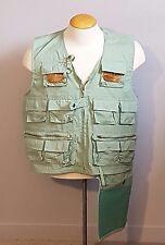 Vintage Men's Sz LG WORLD FAMOUS Sanforised DELUXE Fishing Vest No. 6303 GREEN