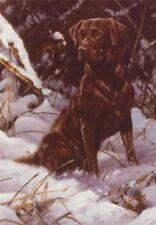 Brown Chocolate Labrador  Dog Painting Christmas Xmas Card