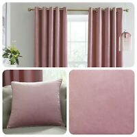 Laurence Llewelyn-Bowen MONTROSE Blush Blackout Velvet Eyelet Curtains Cushions