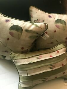 Vintage CROSCILL Chapel Hill Set Lot Green  DECORATIVE Leaves BED THROW PILLOWS