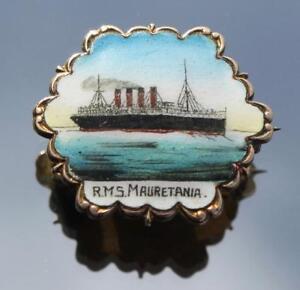 CUNARD LINE RMS MAURETANIA RARE FINE GILT HAND PAINTED ENAMEL PIN BOUGHT ONBOARD