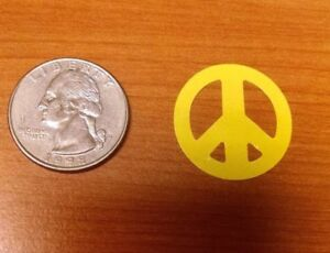 ~~~~~~100 ~~~~~~  YELLOW PEACE TANNING STICKERS - CRAFTS - DECO