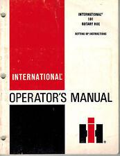 INTERNATIONAL 181 ROTARY HOE OPERATOR'S MANUAL
