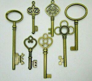 Vintage Style Ornate Steampunk Medium Antique Bronze Metal Key Charm DIY Santa 7