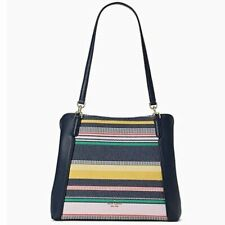 NWT ~ KATE SPADE JACKSON BOARDWALK STRIPE MEDIUM TRIPLE COMPARTMENT SHOULDER BAG