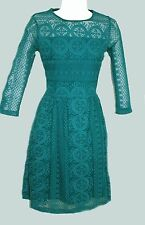 NEW EX NEXT BLACK TURQUOISE BLUE GREEN LACE SKATER PARTY DRESS 6 - 20