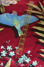 Tropical cotton fabric Asian Theme Flower Fern blue bird large scale BTY 1 yard