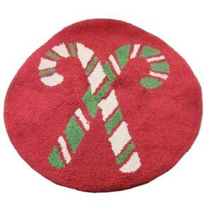 "Christmas Candy Cane Rug Round Bathroom Shower Kitchen St Nicholas Square 24"""