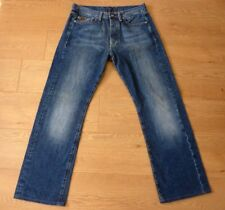 G-Star Raw 3301 Men's Classic Regular Fit Button Fly Blue Jeans W33 L30 Measured