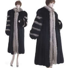 LKNW! Large! Magnificent Black Fox W/Silver Fox Fur Full-Length Coat