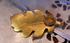 """1940s Golden Rhinestone Leaf Brooch Pin 2"""""""