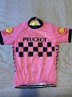 Maillot Cycliste Vintage Peugeot Shell Michelin Damier Rose Réplique Taille XL