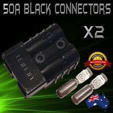 2 x ANDERSON STYLE PLUG CONNECTORS BLACK 50 AMP DC POWER 12/24V SOLAR CARAVAN