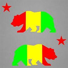 2 California Bear Decal Sticker Vinyl Flag Republic Rasta Beach Tropical