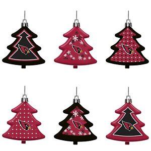 Arizona Cardinals Shatterproof TREES Holiday Christmas Ornaments Set 6 pack