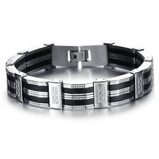 Men's Unisex Stainless Steel Rubber Bracelet G61
