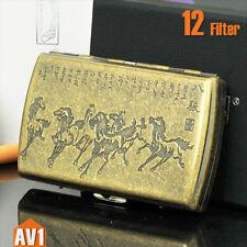 Small Cigarette case for 12 filter. antique imprint design. classic Mini brass.