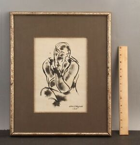 1928 Antique WILLIAM LITTLEFIELD Abstract Figure Pen & Ink Drawing Sketch, NR