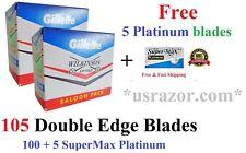 100 Saloon GILLETTE WILKINSON Double Edge Blades Safety Razor+5 FREE SM Platinum