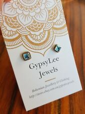 Topaz Studs Earrings Square Solid Sterling Silver Gemstone ♡ GypsyLee Jewels ♡