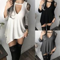 Women Sexy V-Neck Off Shoulder Long Sleeve Mini Dress Irregular Casual Blouse