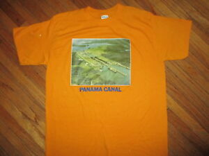 vtg 70s 80s PANAMA CANAL T SHIRT Softest CHED 50/50 Boats Iron On MED
