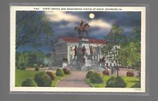 STATE CAPITOL AND WASHINGTON STATUE,NIGHT SCENE,RICHMOND VIRGINIA LINEN  NM