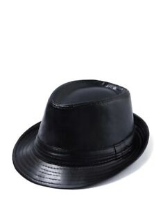 Leather Fedora Adult Hat One Size Gangster Trilby Hat Cuban Style