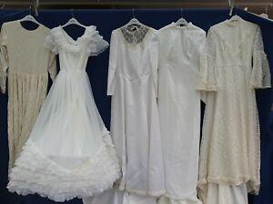 JOBLOT x 5 VINTAGE WEDDING DRESSES .PARTY PROM FANCY DRESS SHOP hire shop #A8