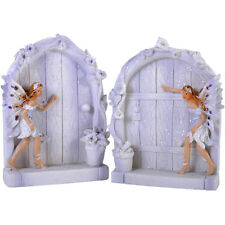 Pair of Delicate Medium  Resin  Fantasy Fairy Doors Figures~Lilac~uk seller