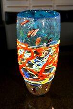 A Stunning Blue Murano Glass Vase With Millefiori And Tutti Frutti Drizzle