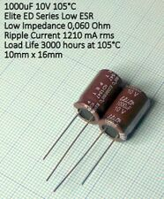 1000uF 10V 105°C Condensatore ELITE ED Low E.S.R and low impedance 5 pezzi