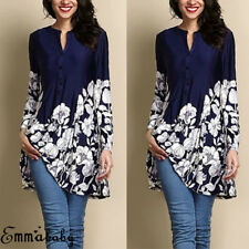 Fashion Women Loose Long Sleeve Casual Blouse Shirt Floral Printed Tops T-shirt