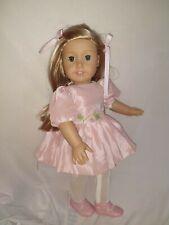 American Girl Doll dark blonde  Hair green Eyes and custom made pink dress
