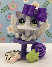 Authentic Littlest Pet Shop # 2033 Purple White Baby Kitten Cat Green Eyes