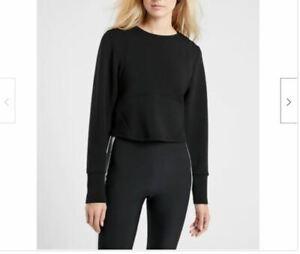 ATHLETA Black Crew Neck Cropped Activewear Sweatshirt Top Medium