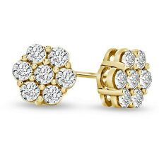 0.11 Carat Look Natural Diamond Flower Cluster Earrings in 10K Gold Finish