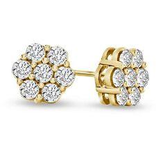 0.11 Carat Look Natural Diamond Flower Cluster Earrings in 10K Gold Finish