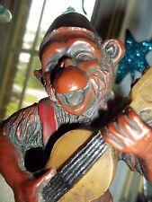 Monkey Chimp Fez Guitar Uke Resin Red Figurine
