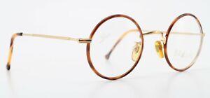 Braun Classics Glasses 201 F22 44-21 22KT Gold Super Finish Round Brown Pattern