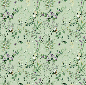 Dolls House Wallpaper 1/12th 1/24th scale Green  Floral Birds Quality Paper #310