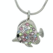 Made With Swarovski Crystal Fish Aquarium Sea Ocean Multi Color Pendant Necklace