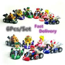 6pcs/lot Super Mario Racing Kart Pull Back Cars Toad Bowser Princess Figure Toys