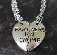 Partners In Crime Best Friends BFF Broken Heart 2 piece Necklace Set Silver Tone